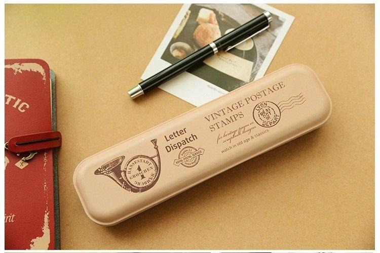 Retro Pen Tin Box Pencil Case Metal Container Candy Storage