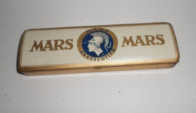 Vintage Mars Staedtler Hinged Tin Pencil Box