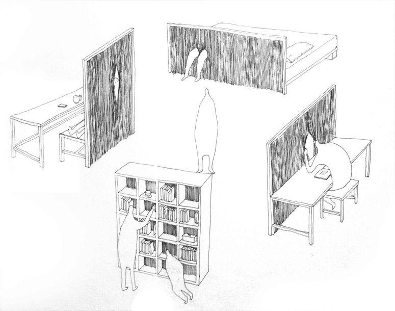 Peeking chair drawing-2