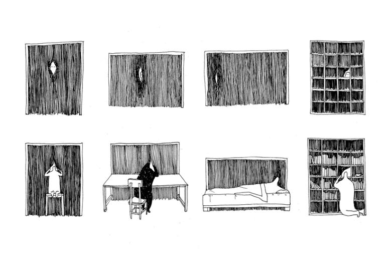 Peeking chair drawing