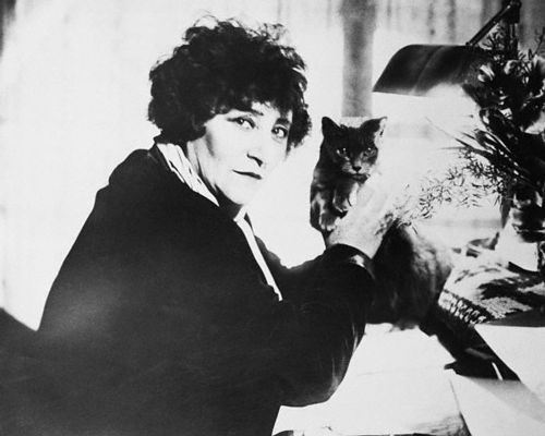 French Author Sidonie Gabrielle Colette with Cat